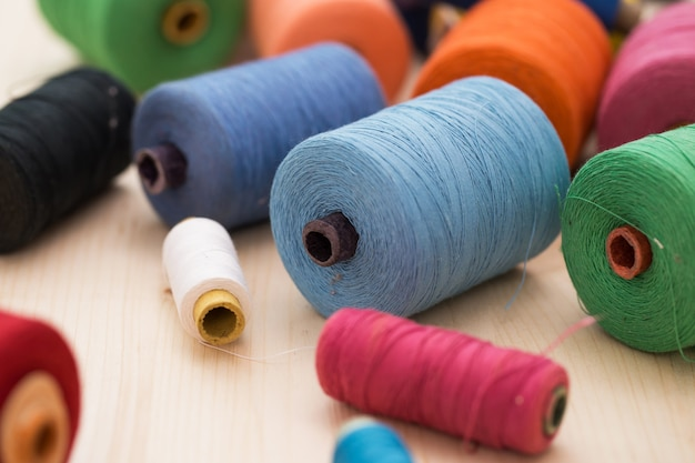 Colorful threads on the table