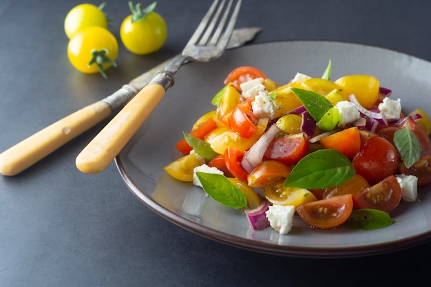 Colorful tomatoes and basil salad on a plate.