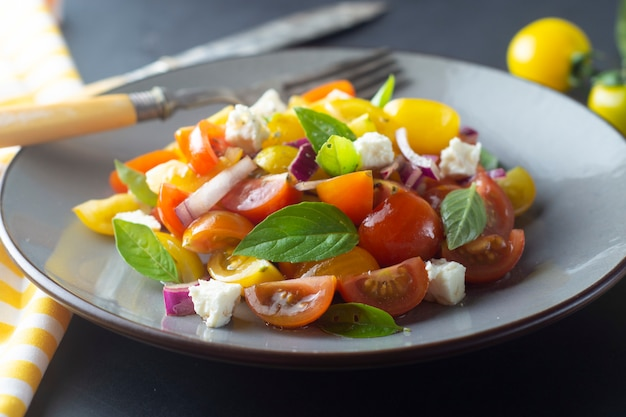 Colorful tomatoes and basil salad on a plate