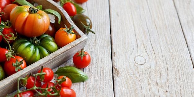 木製のテーブルトップビューのカラフルなトマト