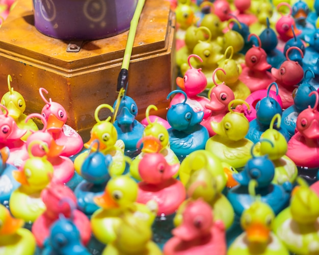 Colorful toy ducks in a water tank