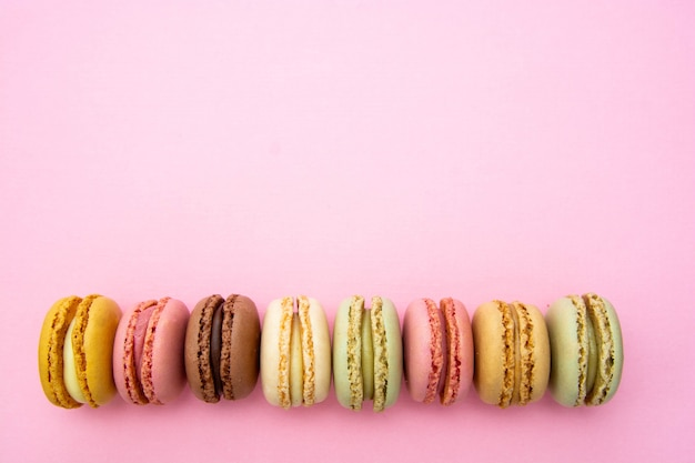 Colorful traditional french macaroons cookies.