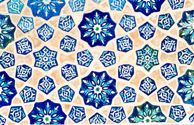 Colorful traditional uzbek mosaic tiles