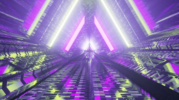 Colorful triangle tunnel with neon lights 4k uhd 3d illustration