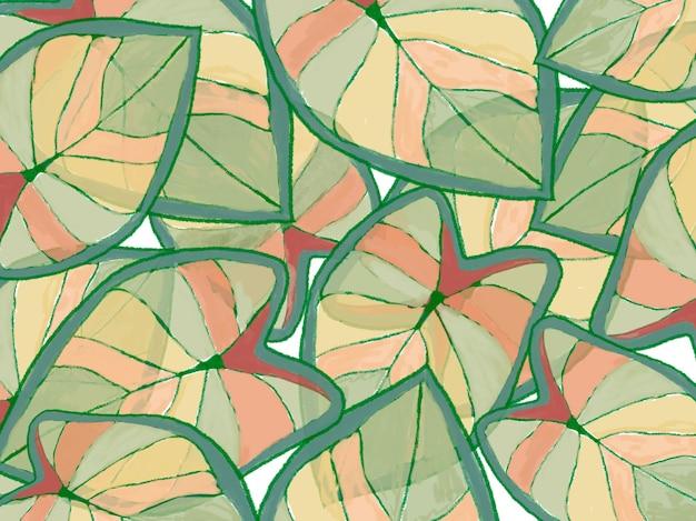 カラフルな熱帯の葉春の自然の背景デザインイラスト