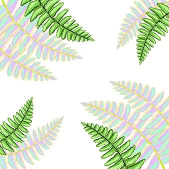 다채로운 열대 잎 수채화 손으로 그린 휴식, 신선한 봄 자연 배경