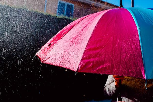 Красочный зонтик, мокрый от проливного дождя.
