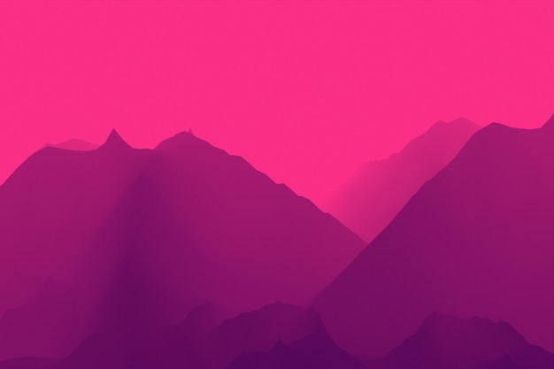 Colorful unreal flight over canyon and mountains