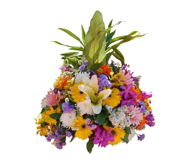 열 대 고사리 잎 배열 자연 부시 배경으로 다채로운 다양 한 꽃 흰색 배경에 고립