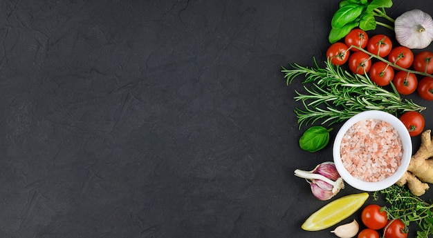 Colorful various herbs and spices for cooking on dark background, copy space, mock up, banner. high quality photo