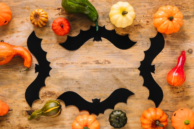 Colorful vegetables and halloween bats