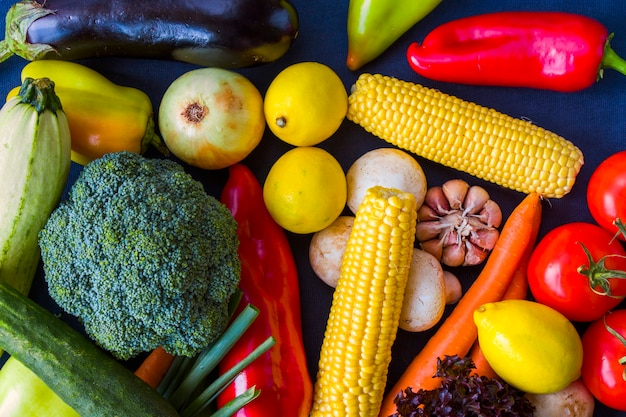 Colorful vegetables mix, ingredients and raw and organic vegetarian food, space for copy paste