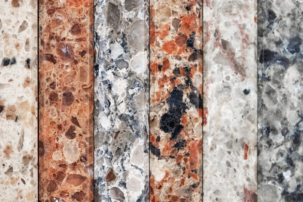 Colorful vertical slabs of marble