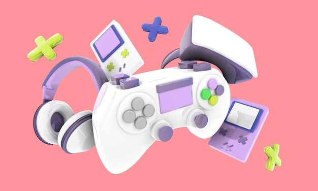 Colorful video game controller, headphones and game console background illustration, render