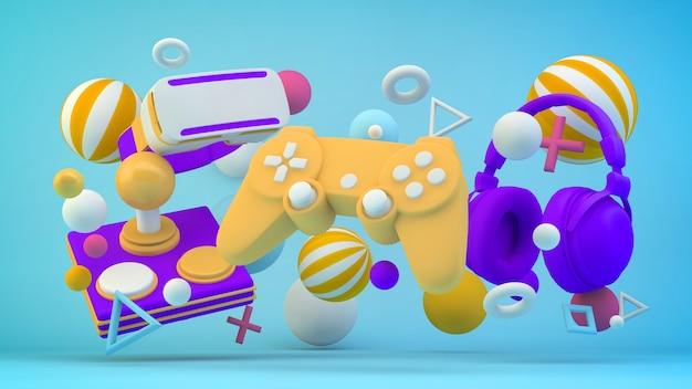 3d 렌더링의 다채로운 비디오 게임 요소