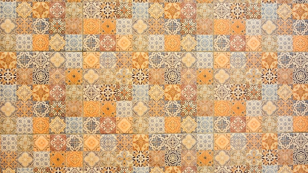 Colorful vintage ceramic tiles wall