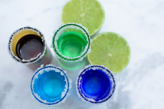 Colorful vodka shots