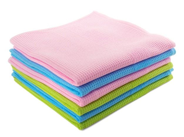 Colorful waffle towels isolated on white