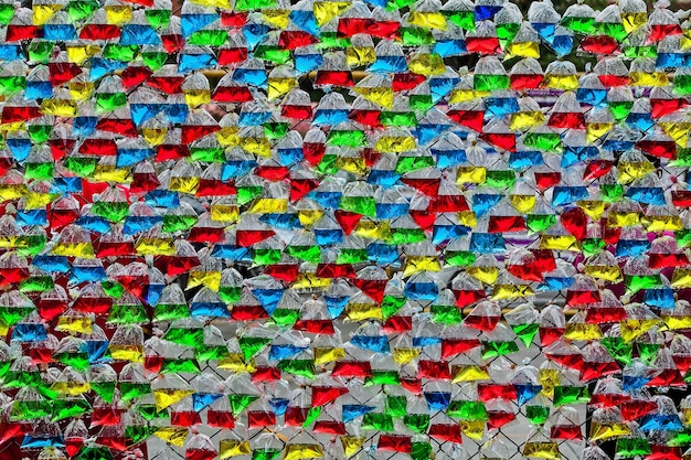 Colorful water in plastic bags for background