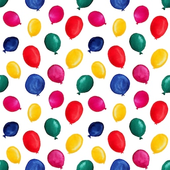 Colorful watercolor balloons in seamless pattern