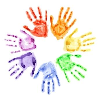 흰색 배경에 고립 된 원에 다채로운 수채화 손 인쇄