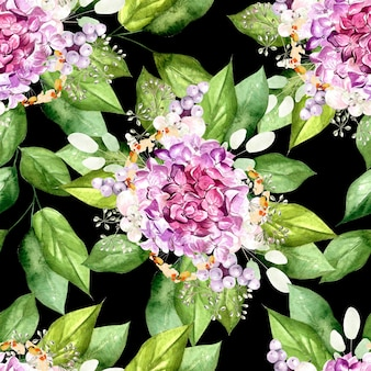 花アジサイ、植物、葉とカラフルな水彩パターン。図