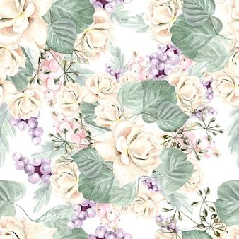 花アジサイ、バラ、多肉植物と葉とカラフルな水彩画のパターン。図