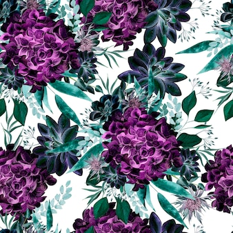 花アジサイ、多肉植物と葉とカラフルな水彩画のパターン。図