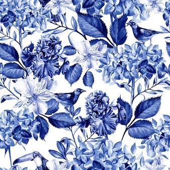 花アジサイ、アルストロメリア、菖蒲、鳥とカラフルな水彩画のパターン。図