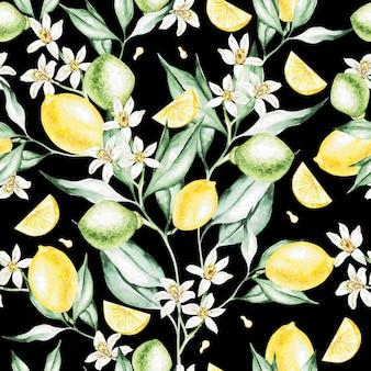 レモンの果実と花のカラフルな水彩パターン。イラスト。