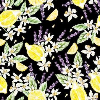 レモンの果実と花、ラベンダーとカラフルな水彩パターン。イラスト。