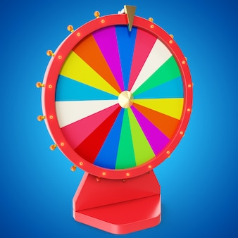 Colorful wheel of luck or fortune. realistic spinning fortune wheel. wheel fortune isolated on blue tint background, 3d illustration