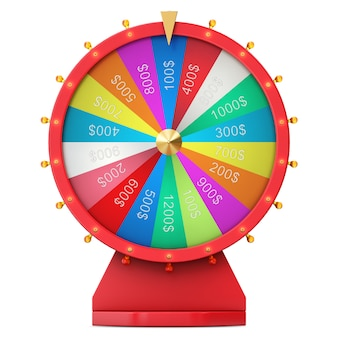 Colorful wheel of luck or fortune. realistic spinning fortune wheel. wheel fortune isolated on white background, 3d illustration