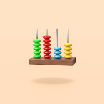 Colorful wooden abacus on orange background