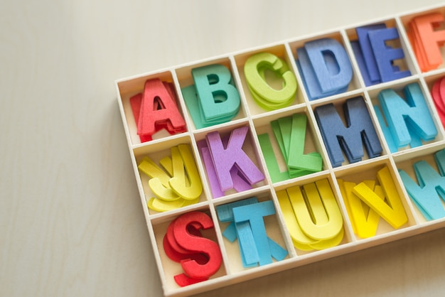 Colorful wooden alphabet box set