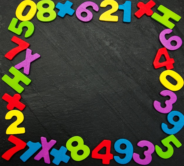 Colorful wooden numbers