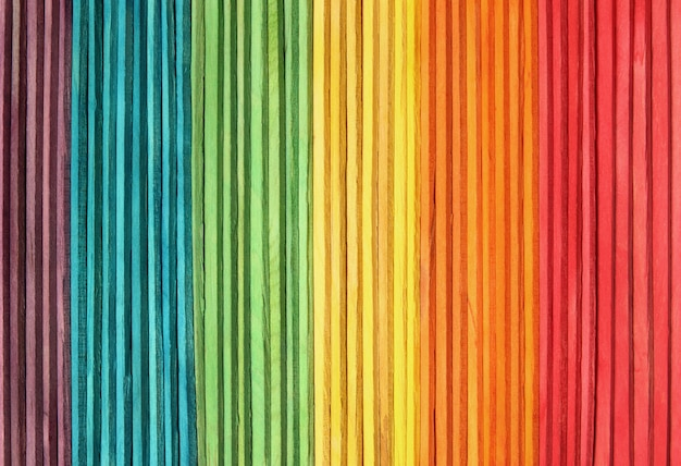 Colorful wooden wall texture background in bright rainbow colors.