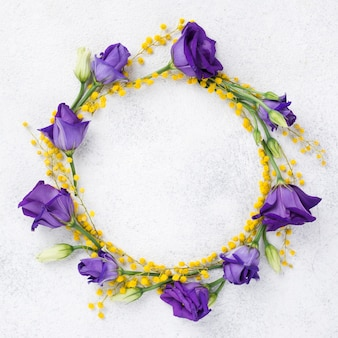 Colorful wreath made of spring flowers