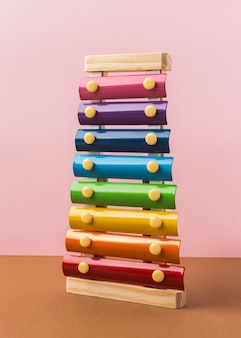 Colorful xylophone arrangement on table