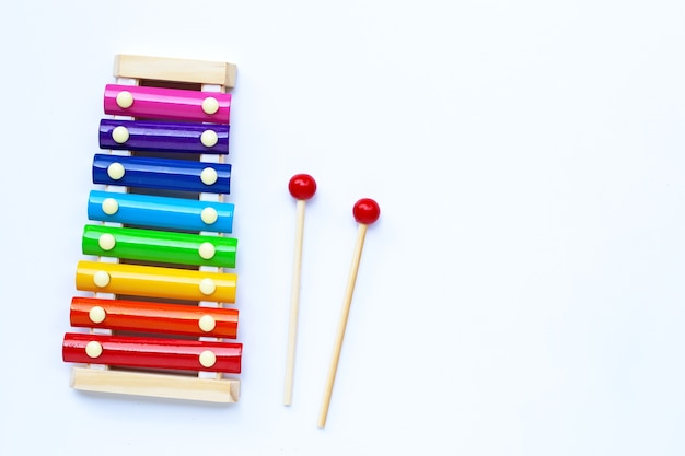 Colorful xylophone on white . copy space