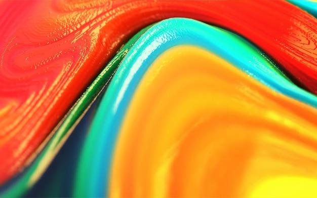 カラフルな黄色、青、赤、緑の光沢と光沢のあるプラスチックの抽象的な背景。
