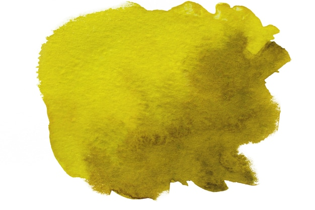 Красочное желтое акварельное пятно на белой поверхности