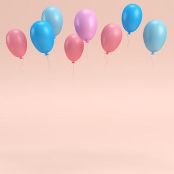 コピースペースとピンクのパステルにカラフルな風船。 3dレンダリング