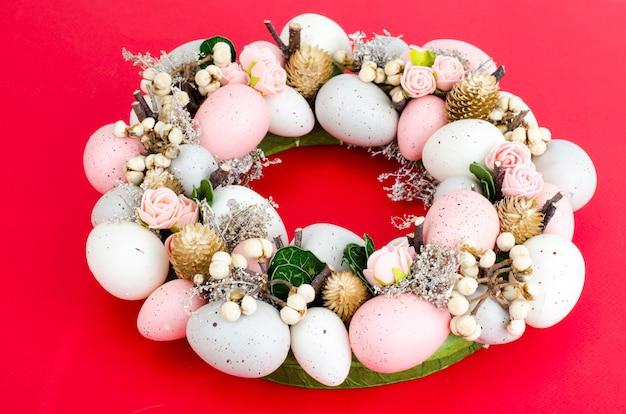Colorfull beautiful festive easter wreath.  photo