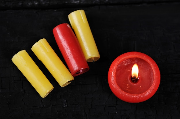 Colorfull cinder from candles