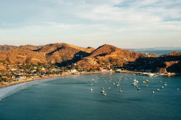 Colorfull panoramic view of bay san juan del sur, nicaragua.