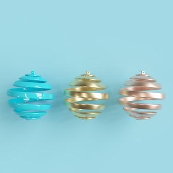 Colorfull украшения рождественский бал на пастельных фоне. минимальная рождественская концепция идеи.