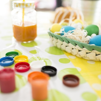 Coloring easter eggs with paints