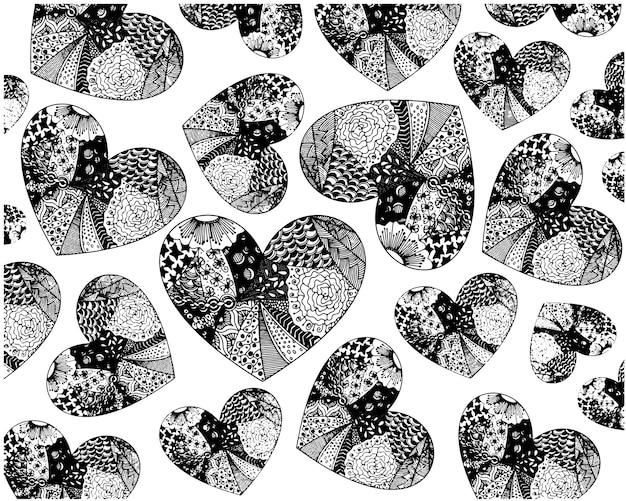 패턴에서 많은 마음의 색칠. 낭만적인 개념에 대 한 마음에서 패턴입니다.