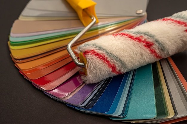 Coloring pallette colorful with paint brush for design in furniture